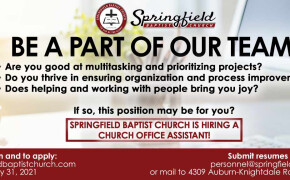 Springfield is Hiring! - Office Assistant Position