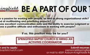 Springfield is Hiring! - Activities Coordinator